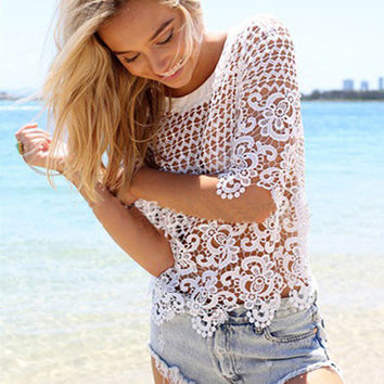 'The Lena' White Lace Crochet Beach Cover-Up