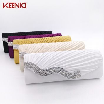 Satin Rhinestone Pleated Women Evening Clutch Bag Ladies Day Clutch Purse Chain Handbag Bridal Wedding Party Bag Bolsa Mujer