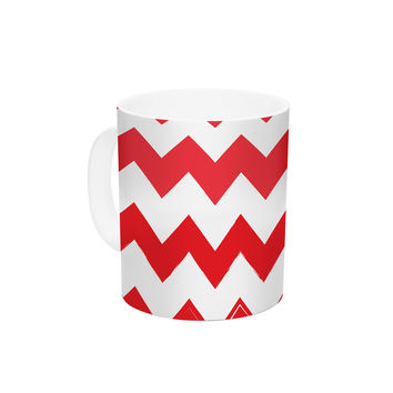 "KESS Original ""Candy Cane Red"" Chevron Ceramic Coffee Mug"