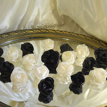 "Set of 20, 2"" Handmade Black & Ivory Silk Flowers for weddings, bouquet making, wedding decor, scrapbooking, gifts, crafts"