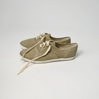 Vintage 80s Faded Green Canvas Tennis Shoes Flats Sneakers - women's 8