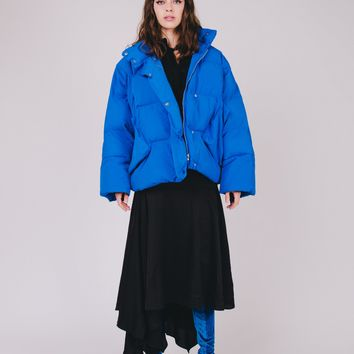 Royal Blue Puffy Short Jacket