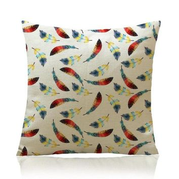 Free Shipping Custom Hand Painted Retro Feather Pattern Soft Short Plush Throw Pillow Sofa Office Chair Waist Cushion