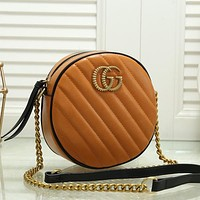 GUCCI Women Fashion Leather Round Crossbody Satchel