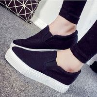Fashion All-match Casual Female Canvas Within The Increase Thick Bottom Small White Shoes Flats Shoes Single Shoes Student Shoes