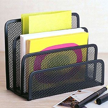 Desk Mail Organizer  HENGSHENG Small File Holders Letter Organizer Metal Mesh DocumentFilingFoldersPaper Organizer for Desktop  3 Vertical Upright Compartments  Black