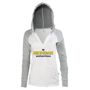 Official NCAA University of Michigan Wolverines U of M THE VICTORS! Women's V-Neck Baseball Sweatshirt