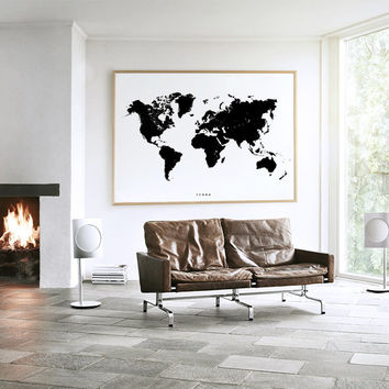 World Map - Terra- Black Print - Black Map -  Black Map of the World  - Wall Art -Map Wall Decor - Trendy Poster -  Minimalist Print