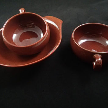 Russel Wright Mid Century Dinnerware Steubenville American Modern demitasse cups and tab bowl in Coffee Bean Brown