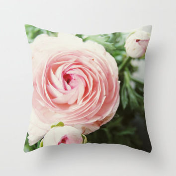 Pink Ruffles Throw Pillow by Christine Hall