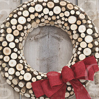 Wood Wreath, Winter Wreath, Rustic Wreath, Rustic Decor, Cabin Decor, Western Decor, Burlap ribbon, 16in Wisconsin Northwood - MADE to ORDER