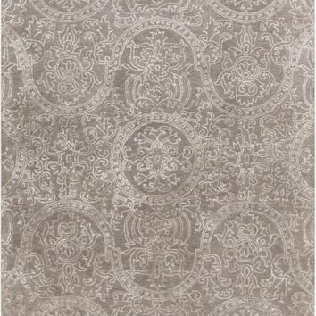 Henna Medallion and Damasks Area Rug Gray