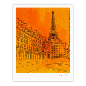 "Fotios Pavlopoulos ""Parisian Sunsets"" Orange City Fine Art Gallery Print"