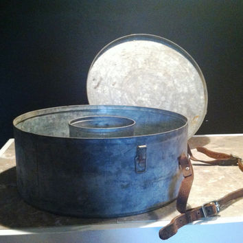 Vintage Galvanized Round Tin Spool Case with Leather Strap