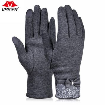 Vbiger Winter Gloves Windproof  Gloves Warm Cold Weather Gloves  Women'S  Flocking Touchscreen Warmer Lace Gloves