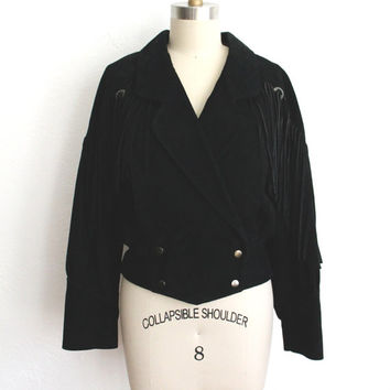 Vintage 80s Black Suede Western Fringe Jacket // Women's Small Leather Coat