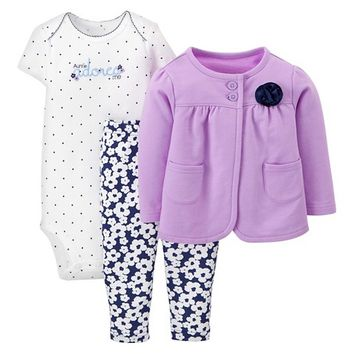 Just One You™Made by Carter's® Newborn Girls' 3 Piece Floral Set - Purple/Navy