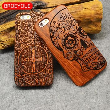 BROEYOYE Wood Case For Apple iPhone 8 X 7 6 6SPlus 4.7 5.5 5S SE Coque 100% Natural Bamboo Wooded Carving Cover Shockproof Cases
