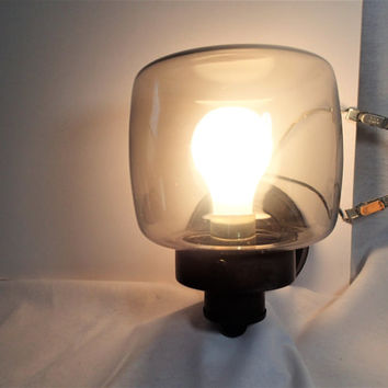 Mid Century Outdoor Industrial lighting smoke glass globe, outdoor sconce fixtures, set of 2