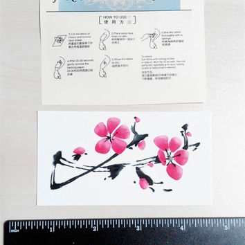 temporary tattoo red plum blossom