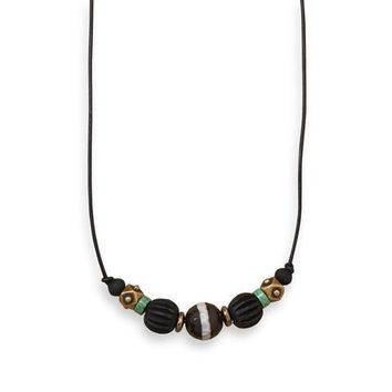 """Hunter 20"""" Men's Brass Necklace with Agate and Wood"""