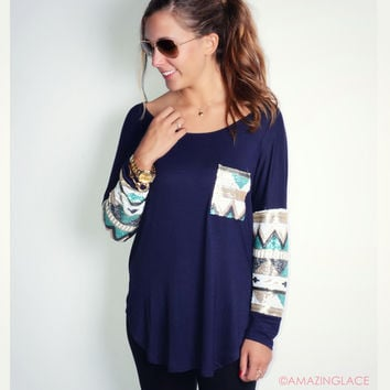 Havana Nights Navy Tribal Sequin Sleeve Pocket Top