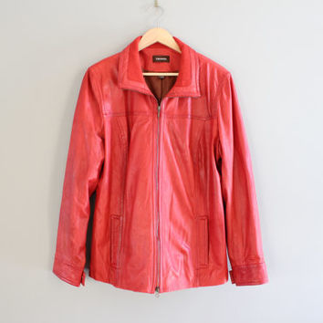 Red Brown Leather Jacket Danier Premium Leather Blazer 80s 90s minimalist Leather Coat Vintage  Size  L - XL