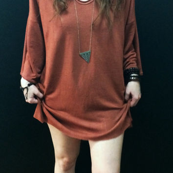 Oversized Caftan Short Dress, V-Neck Loose Sleeve Hand Dyed in Terracotta