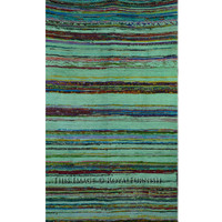 "Green Hand Woven Indian Recycled Chindi Area Rag Rug 44""X78"" Inch on RoyalFurnish.com"
