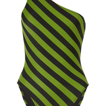 Norma Kamali - Mio one-shoulder striped swimsuit
