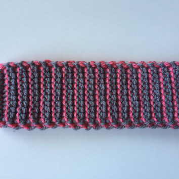 Crochet Ear Warmer, Gray and Pink, Headband, Handmade, Reversible