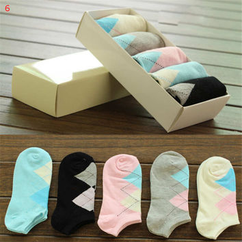 Womens Girls Fashion Comfortable Casual Sports Grid Ankle Socks Hight Quality Best Gift (5 PCS) Socks-29