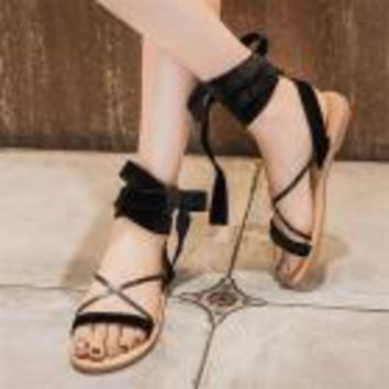 Women Lace Up Female Cross Strap Shoes Bow Tie Sandals Beach open-toed women's shoes with a summer fashion with a summer sandals