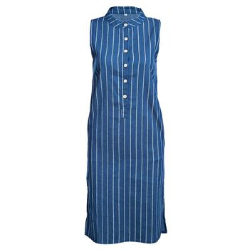 Casual Jewel Collar Sleeveless Stripe Button Design Denim Straigh Midi Dress for Women