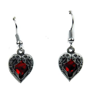ac spbest Fallen Dark Angel Wings & Red Heart Gothic Earrings Cosplay