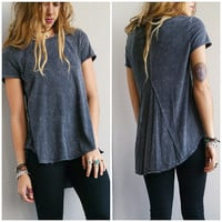 A Stone Wash Tee in Dark Grey