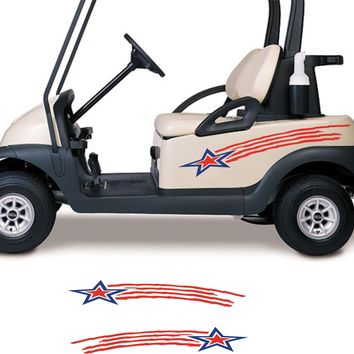 ON SALE Stars and Stripes USA Side By Side ATV Golf Cart Go Cart Stickers Graphics Decals GC306