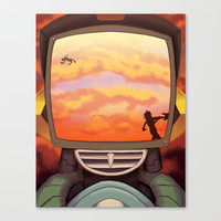 FLCL - Off into the Burning Sunset Stretched Canvas by PinStripes Studios
