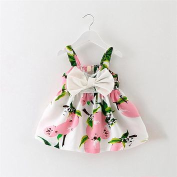 Summer Baby Girls Peach Print Sleeveless Bow Princess Party Dress Kids Infant Sundress vestidos