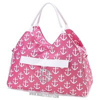 Monogrammed Pink Anchors Beach Bag | Custom Beach Gifts | Marley Lilly