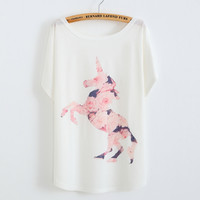 Online Shop unicorn roses horse Printed summer T-shirt women 2015 New thin plus size loose batwing sleeve tees Good quality cotton Tops|Aliexpress Mobile