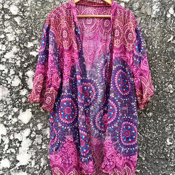 Hippie Mandala Cardigan Tribal Festival Gypsy Bohemian Oversize Boho style Top Kimono Beach Cover Up Summer Vegan Gift Men women Unique