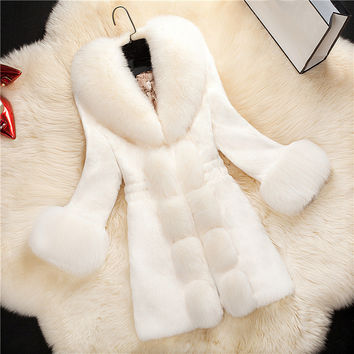 HOT! Fur coat 2016 New fashion Women Winter Overcoat Fashion Faux Rabbit Coat with Fox Collar Female Outerwear female plus size