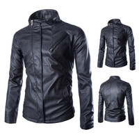 Men Casual Mandarin Collar Slim Washed Leather Motorcycle Jackets