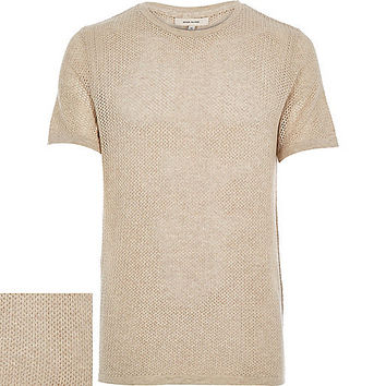 River Island MensLight brown mesh short sleeve t-shirt