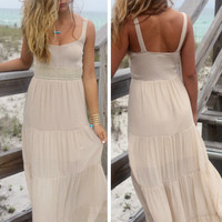 Natural Beauty Oatmeal Crochet Tiered Maxi Peasant Dress