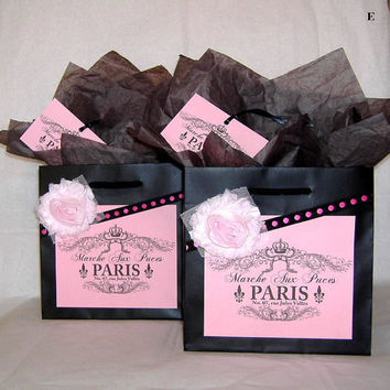 Two Euro French Paris Flea Market Gift Bag Sets in Pink and Black with Gift Tags, and Tissue