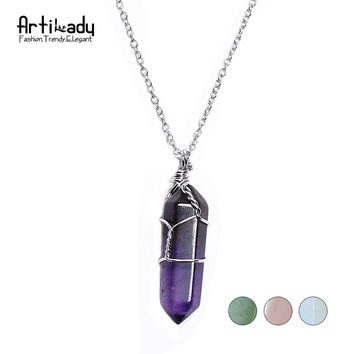 Artilady 4 options! natural quartz pendant necklaces copper wired silver chain necklace crrystal stone women jewelry QM