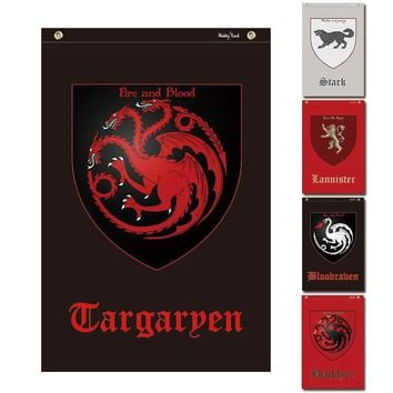 Small Game Of Thrones Logos Cosplay Flags for song of ice and fire Stark Targaryen Lannister room decor bar banners 40x58cm