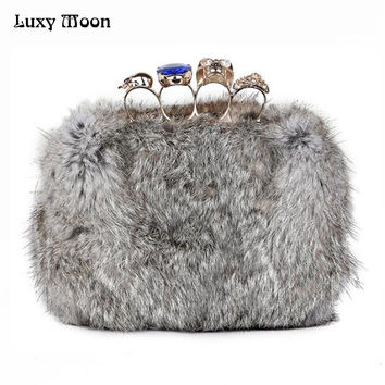 2017 Skull knuckle rings evening bags Winter bolsas rabbit Fur clutch bag top quality real fur women purse wedding clutches w554